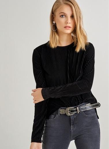 Monamoda Ex Kadife Bluz Siyah